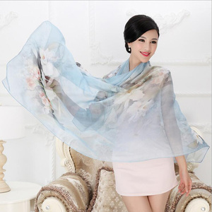 Image 4 - 2018 High quality 100% mulberry silk scarf natural real silk Women Long scarves Shawl Female hijab wrap Summer Beach Cover ups