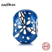 DALARAN Blue Drip Dragonfly 925 Silver Charms Sterling Silver Beads Fit Charm DIY Bracelets Necklaces For Women Jewelry Making dark blue leather bracelets and necklaces for women jewelry making fits european bead charm 925 sterling silver starry sky clasp