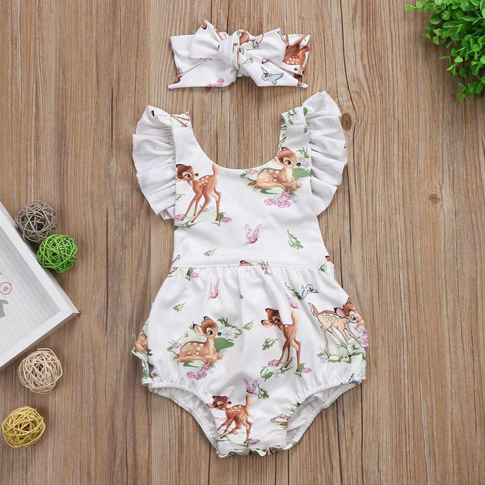 Sagace/Летний комбинезон для младенцев; комплекты одежды с цветочным принтом; Одежда для маленьких девочек; комплект из 2 предметов; повязка на голову; комбинезоны для малышей