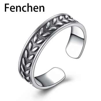 Fenchen Vintage 925 Sterling Silver Leaf Finger Rings for Women Fine Jewelry Anillos Plata 925 Para Mujer Christmas Gifts AR001 - DISCOUNT ITEM  30% OFF All Category