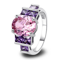 Wholesale Lovely Rings Twinkling Oval Cut Pink Topaz & Amethyst 925 Silver Ring Size 6 7 8 9 10 Women Bridal Wedding Engagement