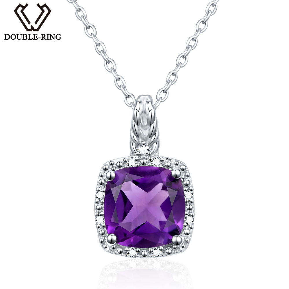 DOUBLE R 100 Natural Amethyst Genuine 925 Sterling Silver Pendants For Women Fashion Hot Sale Necklaces