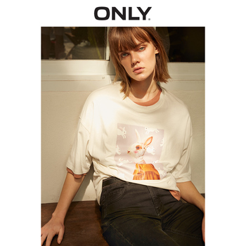 ONLY Spring and Summer Women's Loose Fit Round Neckline Elbow Sleeves T-shirt |119101631