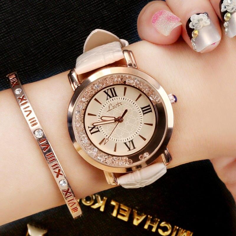 Montre pour Femme de luxe en chiffre romain mode robe Montres Femme 2018 en cuir Quartz strass dames montre-bracelet Montres Femme
