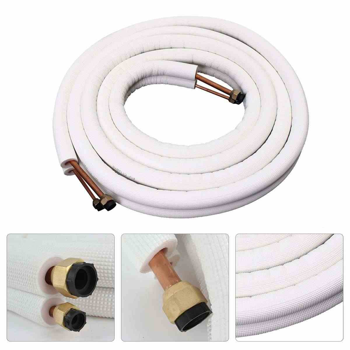 Air Conditioner Tube 1/4 3/8 Insulated Coil Copper Pipe 5m Air Conditioning Pipe Twin Line Set Aluminum Pipe Split Line Wire