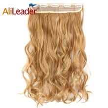 Alileader, кудрявые синтетические накладные волосы на заколках, накладные волосы на половину всей головы, 5 зажимов, одна штука, черные, коричневые, светлые накладные волосы