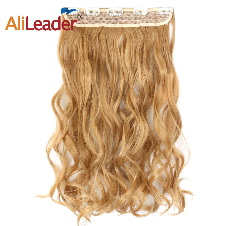 Alileader חצי פאה מלא ראש קליפ הסינתטי בתוספות שיער מתולתל שיער שווא שחור חום בלונדינית 5 קליפים חתיכה אחת