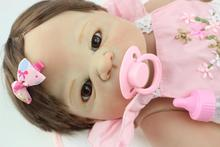 22 Victoria rooted brown hair Handmade full Silicone Lifelike Baby Bonecas Bebe Reborn doll for kid