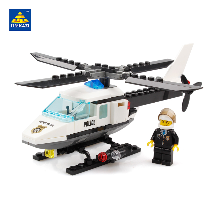 KAZI Police Helicopter Toys Building Blocks Sets Educational Bricks Model Brinquedos Gift Toys for Children 6+ Ages 6729 lepin 631pcs city police station kazi 6725 building blocks action figure baby toys children building bricks brinquedos kid gift