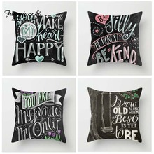Fuwatacchi Blackboard Post Cushion Cover Letter Style Happy Holiday Pillow for Home Chair Decoration Pillowcases 45*45 cm