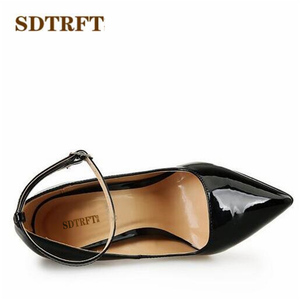 Image 5 - SDTRFT US9 14 15 16 17 18 Spring Gold Bottoms Patent Leather shoes Red Ankle Strap Pointed Toe Wedding pumps Crossdresser Mujer