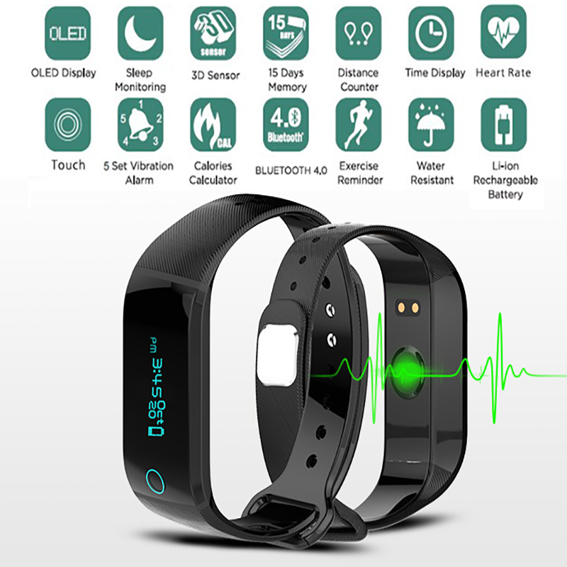 Fitness Bluetooth heart rate monitor Watch Sport Tracker Wristband Exercise Reminder Waterproof ...