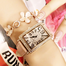 New Fashion Square Ladies Quartz Watch Full Rhinestone Dial Leather Strap Womens Multi-color optional
