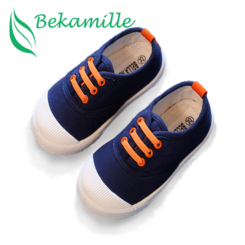 Bekamille New Kids Girls Boy's Fashion Canvas Shoes Breathable Sneakers Shoe For Children Size 21-30 Flats Heels Casual Shoes