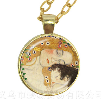 Mothers Day Necklace Gustav Klimt The Kiss Art Jewelry Pendant Necklace DIY Charms Jewelry Gift For Winderful Friends image