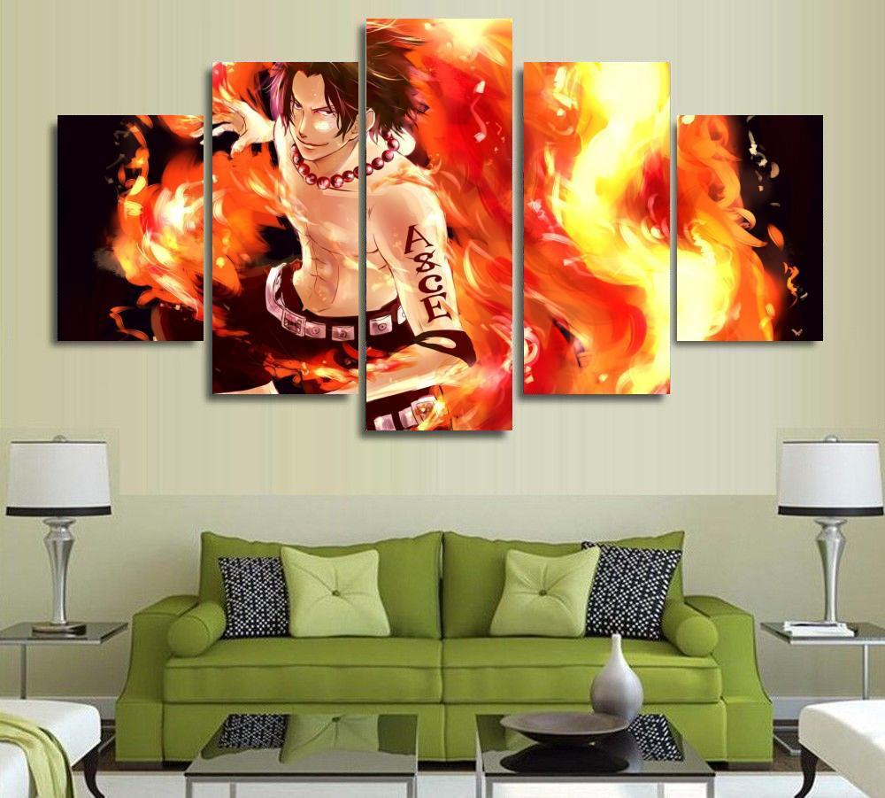 5 Panel Cartoon Anime One Piece Fire Fist Ace Modern Home Wall Decor Canvas Picture Art HD Print Painting On Canvas Artworks