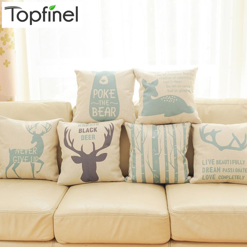 Top Finel 2016 Deer Decorative Throw Pillows Case Linen Cotton Cushion Cover Creative Decoration for Sofa Car Covers 45X45cm