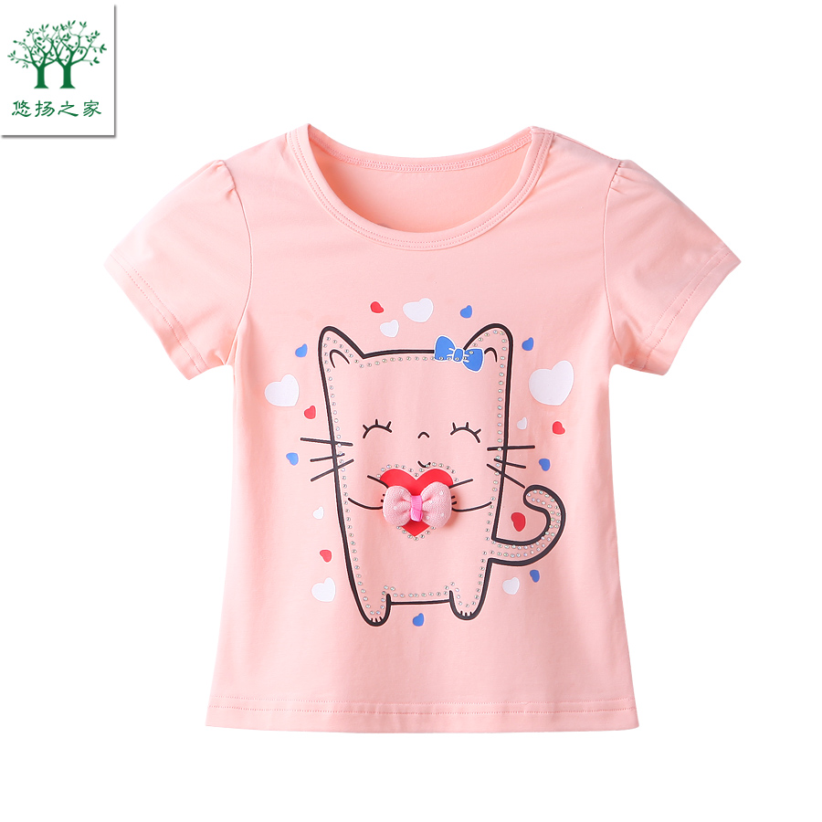 2017 New Casual cute baby girl T shirts pink green baby 2t