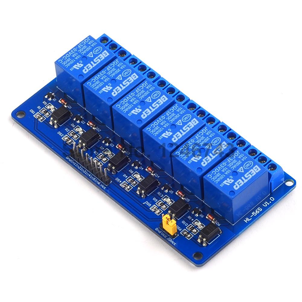 1PCS 6 Channel 3V Relay Module Optocoupler Isolation Low Level Trigger for Arduino w era часы чайничек  34х22 см  черный   d9 qzfy8