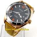 Автоматические Мужские часы с черным циферблатом и золотым покрытием  45 мм
