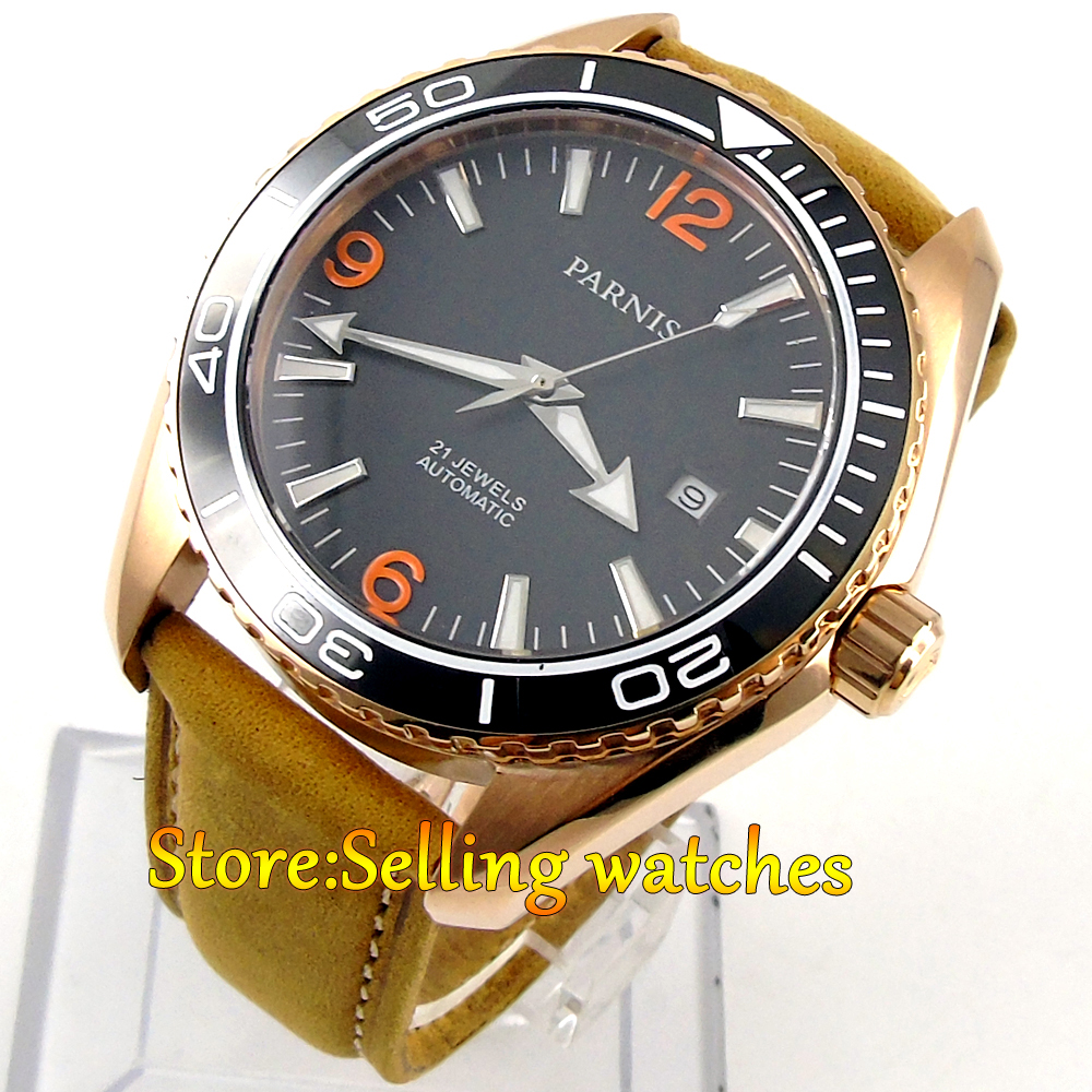45mm Parnis black dial golden plated case Sapphire Glass Automatic mens Watch цена