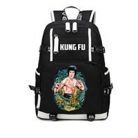 China Kung Fu Printing Cartoon Canvas Backpack Bruce Lee Backpack For teenagers Student bookbag Shoulder bag Laptop Rucksack
