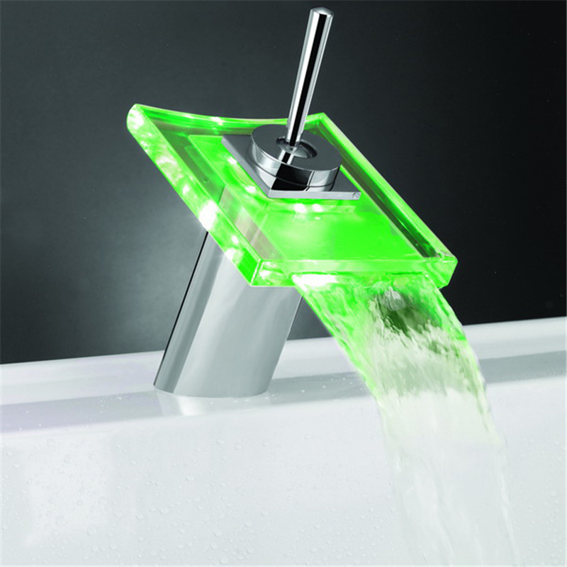 LED Color Changing Basin Faucet Bathroom Deck Mount Waterfall Glass Mixer Taps Chrome Finish contemporary chrome finish wall mount 7 color changing led showerhead silver