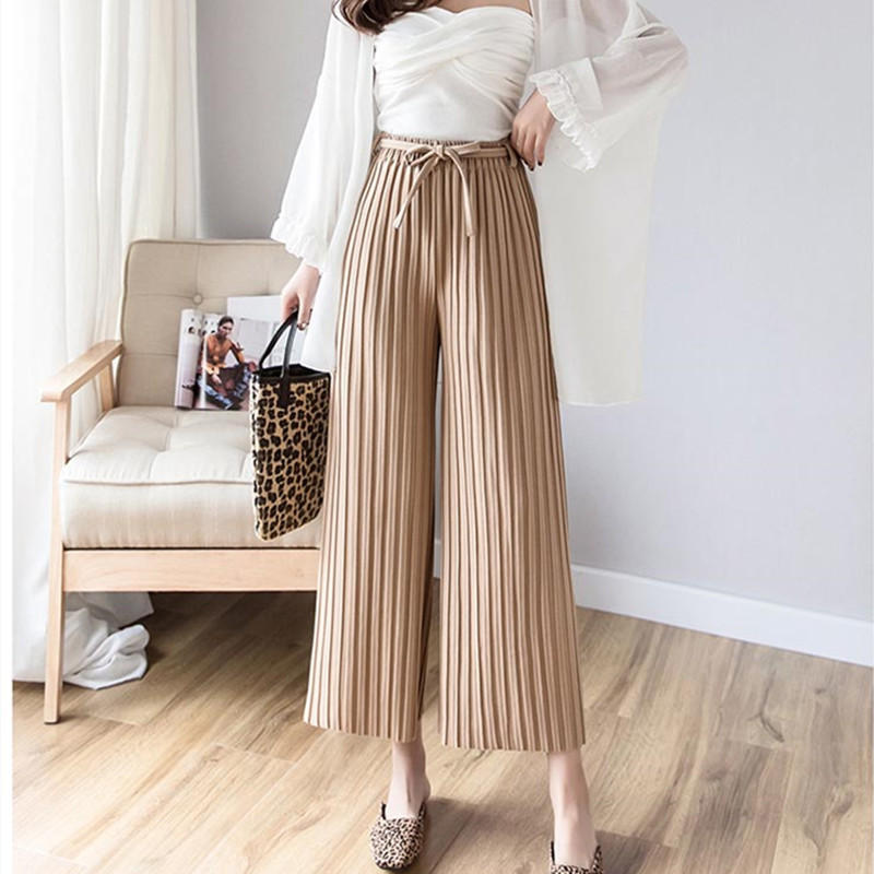 Real shot 2019 spring new Korean version of the women's pants with pleated wide-leg pants loose nine casual pants 1