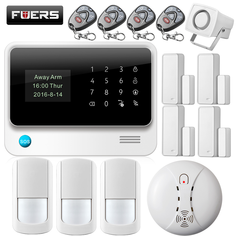 fuers 2017 update g90b wifi home security alarm system with wireless pir detector smoke detector. Black Bedroom Furniture Sets. Home Design Ideas