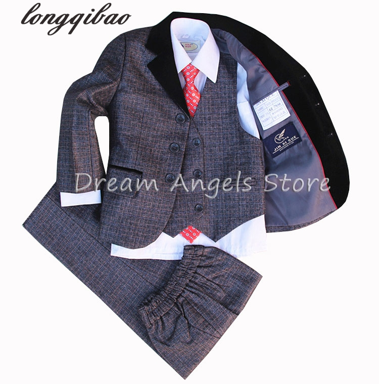 ФОТО High quality Suit Solid color style suits boy Suit sets Slim Fit Tuxedos boy show ( jacket + pants+Waistcoat+bow tie+Neckties )