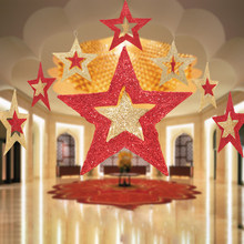 smiry 5pcs xmas five pointed star ceiling ornaments christmas decorations for home party christmas tree