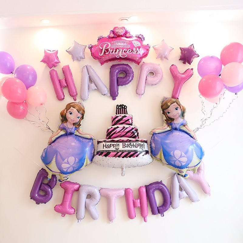 1 Set Pink Purple Princess Unicorn Balloons Happy Birthday Party Cake Balloon Decorator Inflatable Boy Girl Supplies In Backdrops From Home