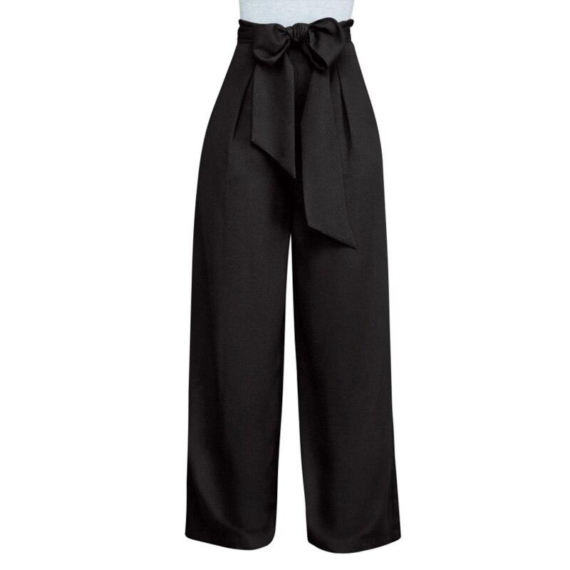 plus size European Style black white blue   Wide     Leg     Pants   Women High Waist Tie Waist Trousers Palazzo OL Long   Pants   autumn winter