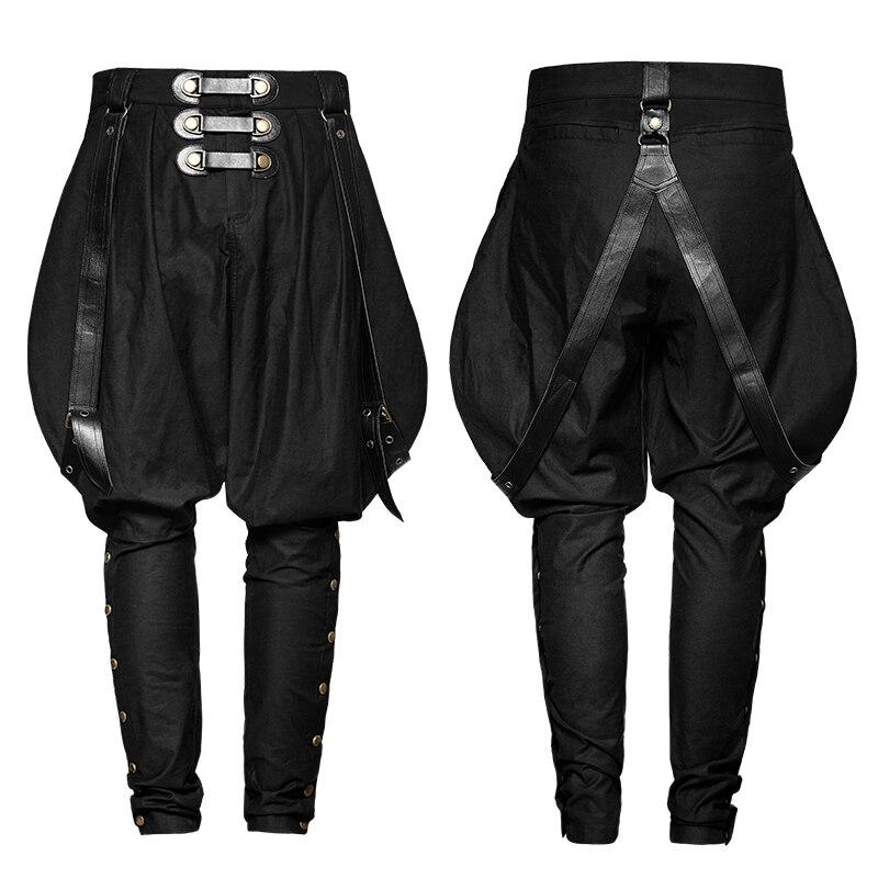 2017 Punk Rave Gothic Rock Mens Fashion military uniform PU Pants full length loose overalls pants K-269