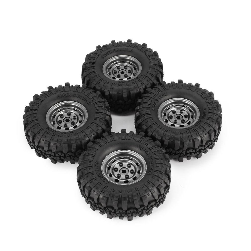 4Pcs AX-4020 1.9 Inch 110mm Rubber Tires Tire with Metal Wheel Rim Set for 1/10 Traxxas TRX-4 SCX10 RC4 D90 RC Crawler Car Tire 4pcs d1rc 1 10 super grip rc crawler car 3 2 inch rc thick wheel tires with sponge for 1 10 rc crawler