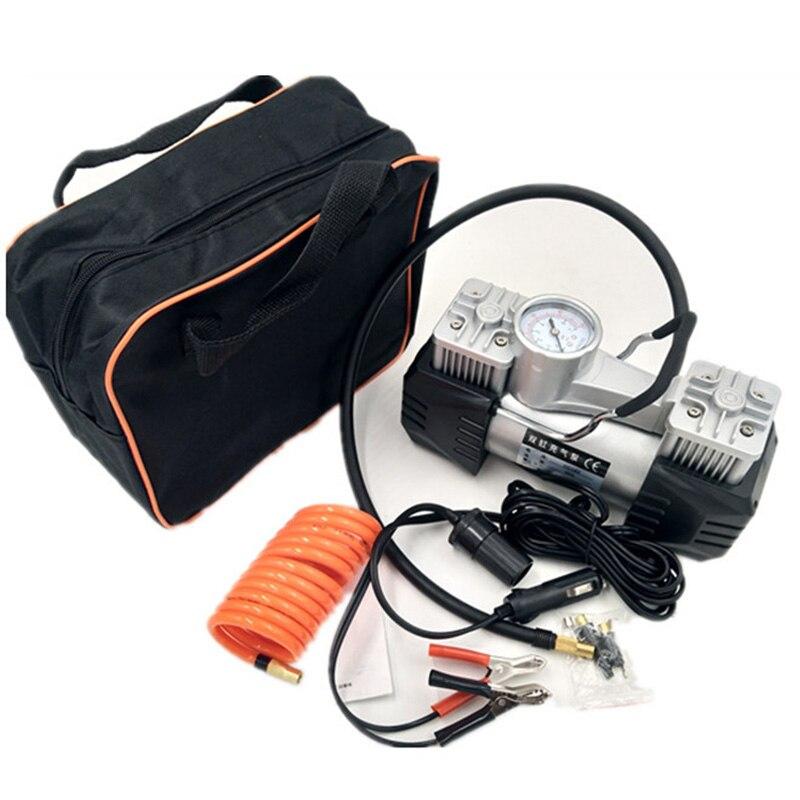 1 pièces 3008 à faible bruit Double cylindre voiture compresseur d'air voiture pneu pompe gonflable pour voiture d'urgence avec sac à main
