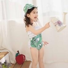 Baby Girls Green Leaves Pattern One-Piece Swimsuit with Swim Cap Cute Kids Child Flounced Swimwear Beachwear Print Bathing Suits