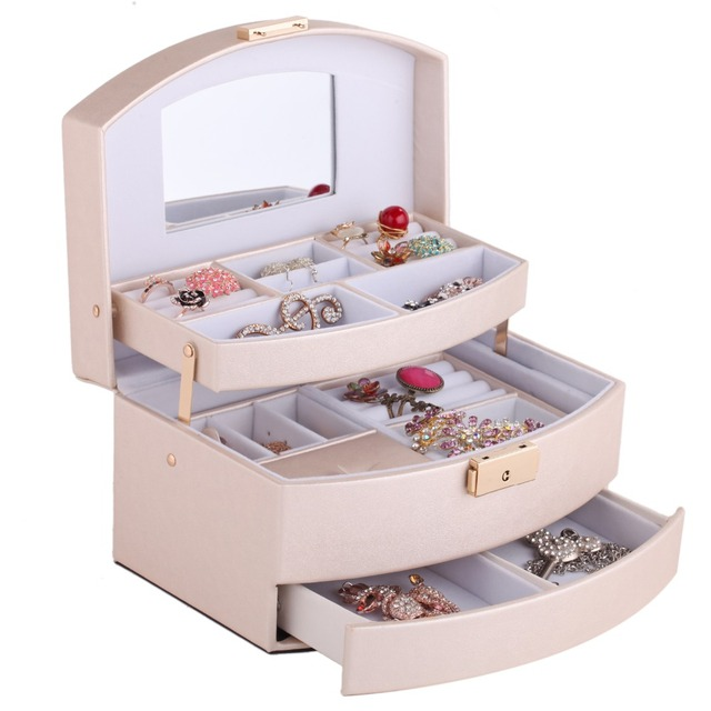 Soft Gold Jewelry Boxes Women Girls Gift Leather Earings Necklaces Jewellery Storage Velvet Lockable Case With