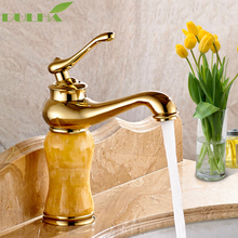 Luxury Bathroom Basin Sink Faucet Torneira Jade Body With Marble Mixer Taps Full Copper Top-grade Golden Finish Lavatory Faucets basin faucets marble with jade bathroom taps 3 hole classic home decoration lavatory crane hot and cold mixer faucet ay 13015