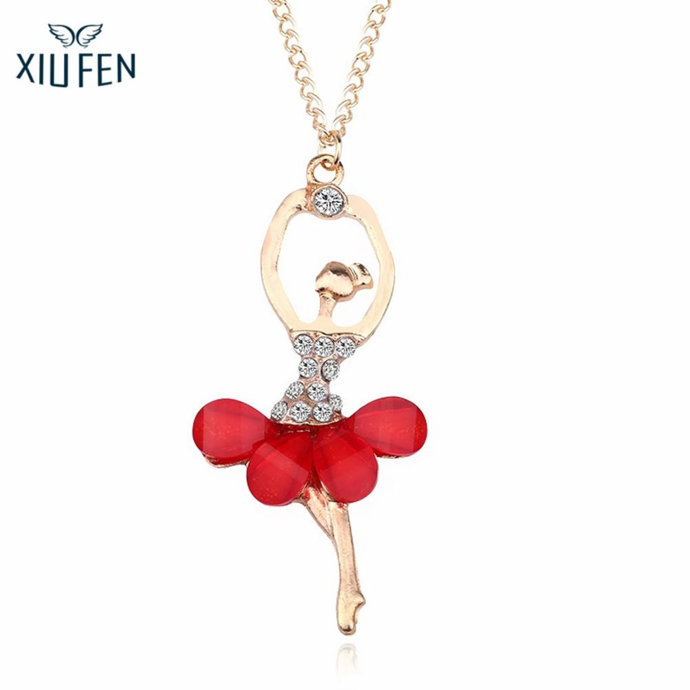 Women Girl Golden Color Ballerina Exquisite Shimmer Rhinestone Pendant Necklace