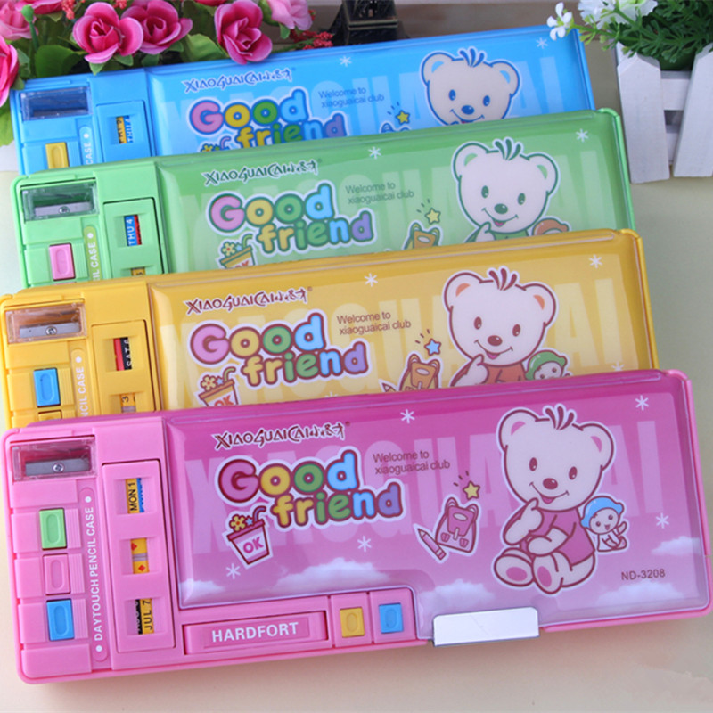 3208 multifunctional stationery box pencil box double faced big function large capacity 4 colors весы smile pse 3208