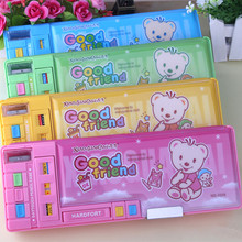 3208 multifunctional stationery box pencil box double faced big function large capacity 4 colors