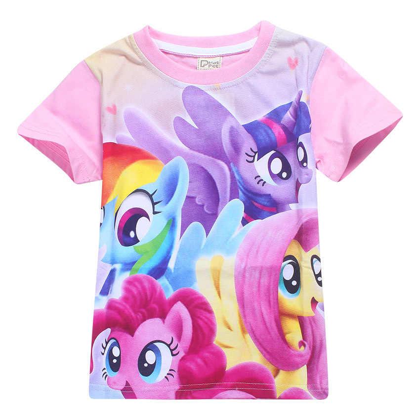 Летняя футболка с изображением пони для девочек, футболка с изображением пони для девочек, топ с рисунком из мультфильма «сумеречные сверкающие Пони», Детская летняя футболка, детский топ для девочек