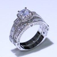 Ретро ювелирные изделия парные кольца 925 стерлингового серебра Принцесса Cut Белый прозрачный 5A кубического циркония обещают женщин обручал