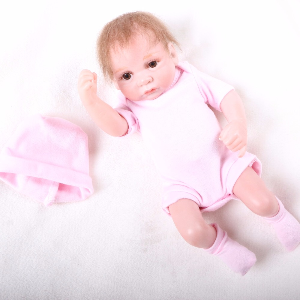 Mohair Rooted 10 Inch Tiny Reborn Baby Doll Girl Realistic Full Silicone Babies Dolls Wearing Pink Clothes Kids Birthday Gift