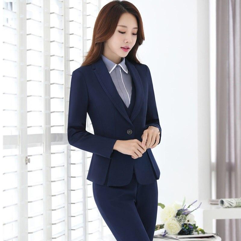 Dames Bedrijf Professionele Blazers Met 4 stuks Jassen + Broek + Vest + Blouse voor Dames Broek Past Broekpakken Plus size - 3