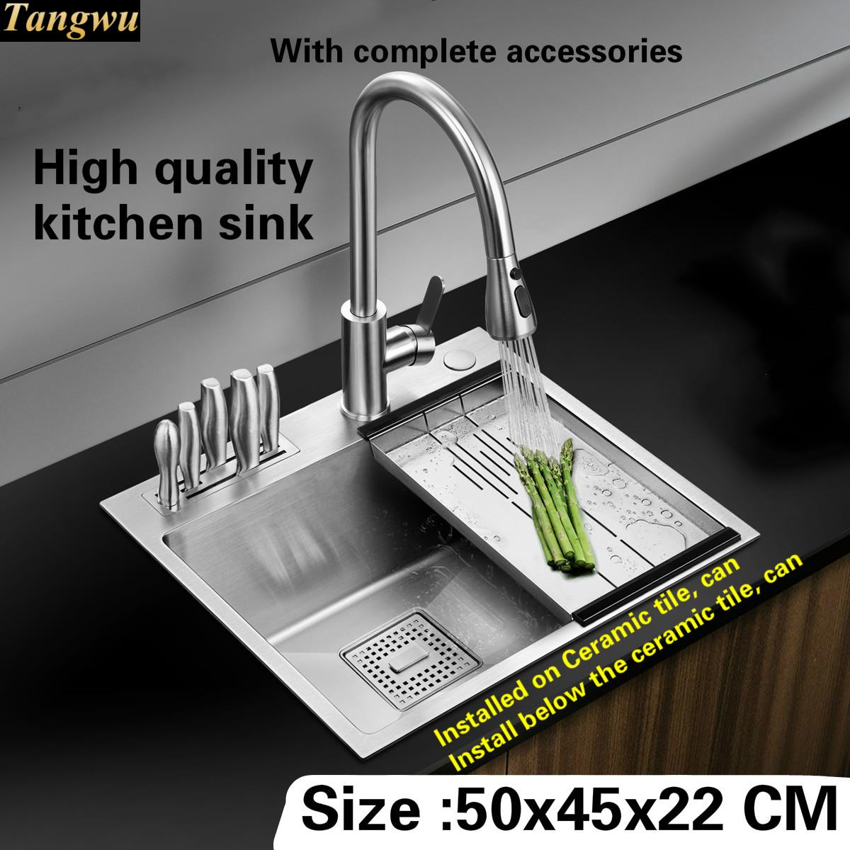 Tangwu High quality food grade 304 stainless steel kitchen sink 4 mm small single slot by hand durable 50x45x22 CM fast food leisure fast food equipment stainless steel gas fryer 3l spanish churro maker machine