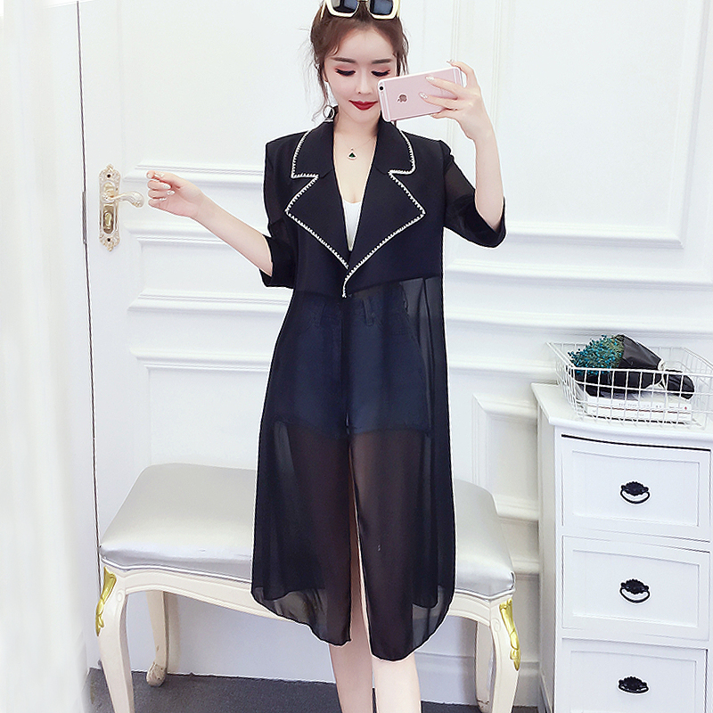2019 Summer Long   Jacket   Womens Vintage Loose Chiffon Thin   Basic     Jackets   Black Coats Ladies harajuku Outerwear chaqueta mujer