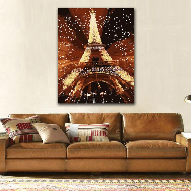 DIY colorings pictures by numbers with colors Paris famous tower scenery picture drawing painting by numbers framed Home in Paint By Number from Home Garden