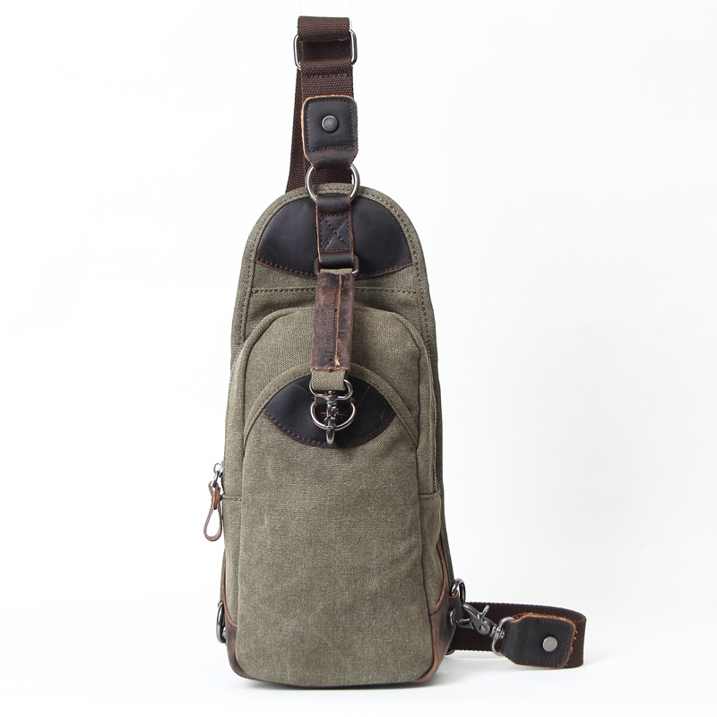 Army Green Men & Women Canvas Crossbody Bag With Crazy Horse Leather Fashional Casual School Boy Single Shoulder Bags H051 army green vintage men s messenger bags canvas shoulder bag fashion men travel crossbody bag for boy school shoulder bags g036